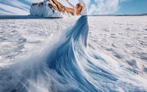 Picture winter, girl, clouds, snow, nature, pose, lake, mood, rocks, blue, shore, back, ice, dress, horizon, …