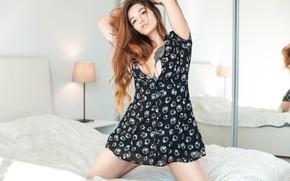 Picture girl, pose, bed, dress, long hair, Valeria Aksel, Evgeny Reshetov