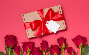 Picture gift box, red, flowers, bouquet, red, gift, love, roses, romantic, valentine's day, roses, love
