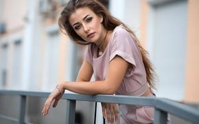 Picture look, pose, model, portrait, makeup, hairstyle, costume, railings, brown hair, beauty, bokeh, Diana, Dmitry Sn