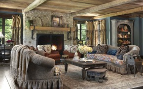 Picture interior, fireplace, living room