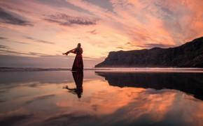 Picture girl, sunset, mountains, pose, lake, dress, Lizzy Gadd