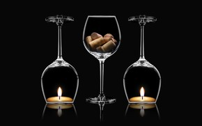Picture macro, candles, decoration, wine cups