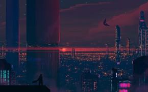 Picture Sunset, The sun, The evening, The city, Stars, Silhouette, Skyscrapers, Building, City, Landscape, Skyscraper, Art, …