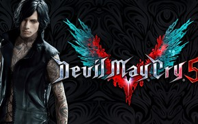 Picture the game, guy, tattoo, character, Devil May Cry, Devil May Cry 5