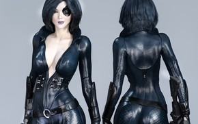 Picture girl, background, black latex