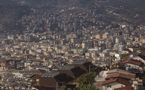 Picture mountains, the city, home, Turkey, Alania