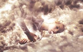 Picture the sky, girl, clouds, style, sleep, fantasy, image, photoart, Kindra Nikole, Deity
