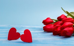 Picture flowers, flowers, red, spring, bouquet, red, hearts, hearts, love, tulips, romantic, tulips, love, beautiful