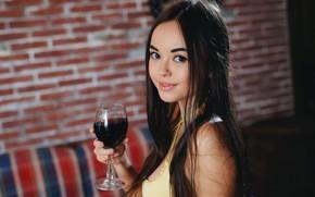 Picture look, wine, glass, beauty, cutie, Li Moon