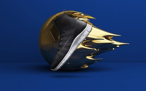 Wallpaper rendering, the ball, shoes, advertising, sneakers, nike