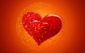 Picture network, hearts, Internet, online Dating