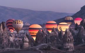 Picture landscape, mountains, balloons, rocks, dawn, morning, backlight, Turkey, Cappadocia, tuff