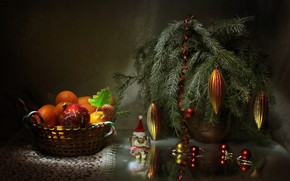 Picture toys, branch, New Year, Christmas, needles, tangerines