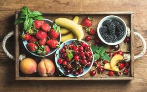 Wallpaper cherry, berries, strawberry, bananas, peaches, BlackBerry
