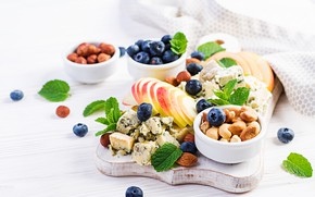 Picture berries, apples, cheese, blueberries, nuts, Timolina