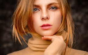 Picture look, girl, face, hair, hand, portrait, Pavel Ermakov
