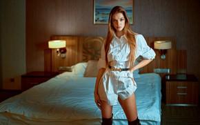 Picture girl, pose, bed, shirt, long hair, Alina, Serge Zhodik