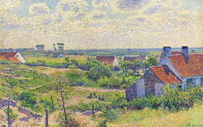 Picture picture, Theo van Rysselberghe, pointillism, 1894, Landscape with Houses, Theo van Reysselberge