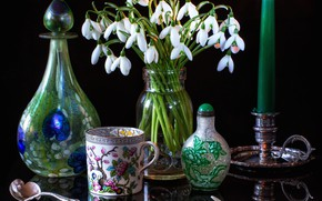 Picture flowers, style, candle, snowdrops, mug
