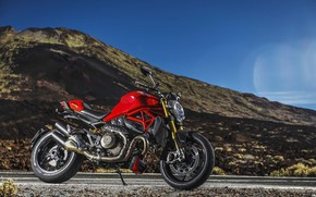 Picture road, the sky, mountains, motorcycle, red, Ducati, moto, wheel, red motorcycle, Ducati Monster 1200
