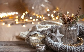 Picture winter, decoration, Christmas, New year, new year, Christmas, vintage, winter, sweater, bokeh, decoration, cozy