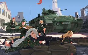 Picture ambush, devastation, defense, battlefield, tanks, military uniform, sniper rifle, machines, cool, Girl Frontline