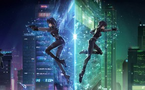 Picture girl, light, night, the city, gun, Ghost Blade, Ghost in the shell