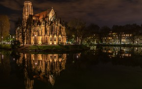 Picture the sky, clouds, trees, landscape, night, the city, lights, darkness, reflection, building, home, Germany, architecture, …