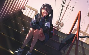 Picture street, wire, post, railings, phone, schoolgirl, sitting, backpack, long hair, sneakers, thought, black cat, on …