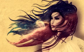 Picture girl, space, face, rendering, hair