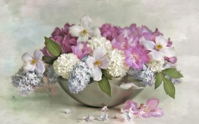 Picture flowers, background, bouquet, petals, art, pink, white, painting, different, lilac, lilac, vase, bowl, dogwood