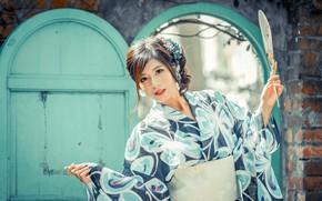 Picture girl, fan, kimono, Asian