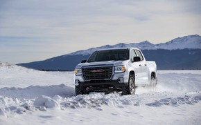 Picture snow, pickup, GMC, Canyon, AT4, 2020