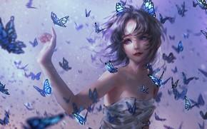 Picture Girl, Girl, Butterfly, Hair, Kimetsu no Yaiba, Violet eyes, Purple Eyes, Kochou Shinobu, Demon Slayer: …
