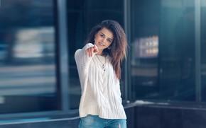 Picture girl, smile, hand, gesture, sweater, Diana, Natalia Anisimova