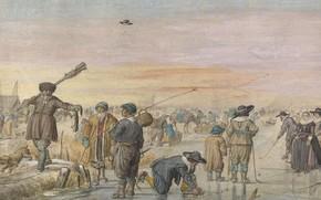 Picture figure, Hendrick Avercamp, Hendrick Avercamp, 1595, Scene on the ice. A hunter showing an otter
