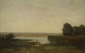 Picture landscape, picture, Theodore Rousseau, River scene, Théodore Rousseau
