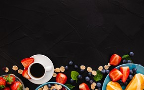 Picture berries, background, coffee, Breakfast, blueberries, strawberry, cereal, buns