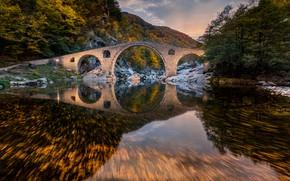 Picture autumn, forest, mountains, bridge, river, Bulgaria, Bulgaria, Devil's Bridge, Rhodope Mountains, The Rhodope mountains, Devil's …