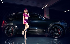 Picture auto, look, Girls, Porsche, Asian, posing on the car, beautiful air hostess