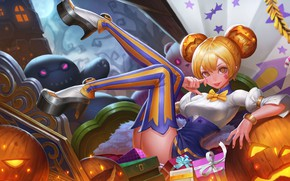 Picture girl, the game, stockings, pumpkin, Halloween, King of Glory, The king of glory