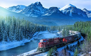 Picture Winter, Mountains, River, Banff National Park, Tovarna