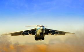 Picture Dust, The plane, Flight, Russia, Engines, Dunes, The Il-76, Ilyushin, Il-76TD, Candid, Volga-Dnepr, Alexander Iartsev, …