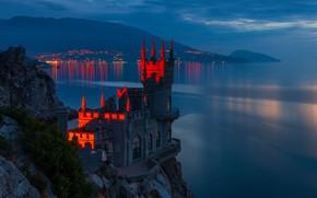 Picture sea, night, rock, castle, Russia, Crimea, Swallow's nest, The black sea, Avrorina rock, Сергей Титов