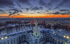 Picture sunset, the building, the evening, Saint Petersburg, Russia, architecture, Smolny convent, Тамара Покровская, Звонница Воскресенского …