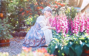 Picture summer, girl, light, flowers, nature, garden, dress, outfit, pink, Asian, sitting, flowerbed, photoshoot