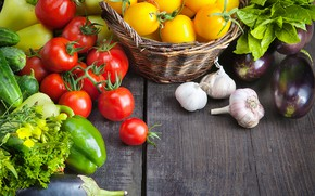 Picture greens, basket, pepper, vegetables, tomatoes