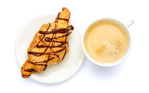 Picture foam, close-up, coffee, Breakfast, Cup, white background, the view from the top, saucer, croissant
