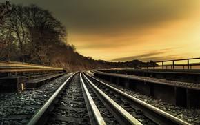 Picture the sky, shore, railroad